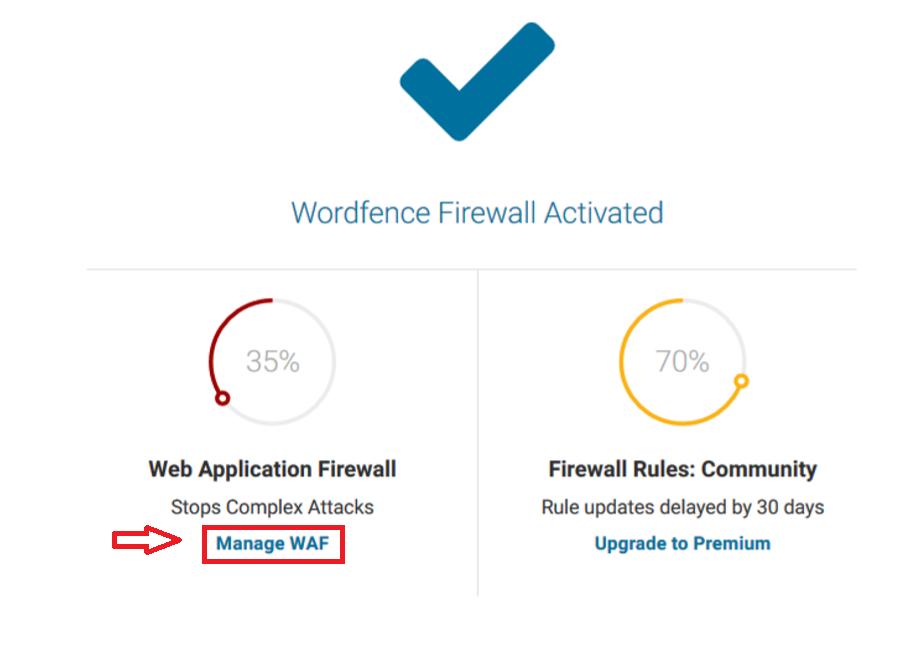 Manage WAF on WordFence